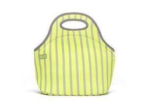 BUILT Neoprene Gourmet Getaway Mini Lunch Tote - Neon Stripe Lime