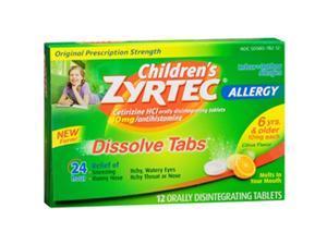 Children's Zyrtec 24 hour Allergy Relief 10mg -12 Dissolve Tablets