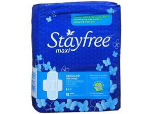 Stayfree Maxi Pads With Wings Regular - 18 ct cs of 6