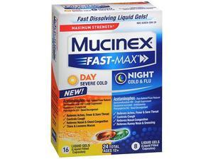 Mucinex Fast-Max Day Severe Cold & Night Cold & Flu Liquid Gels - 24 ct