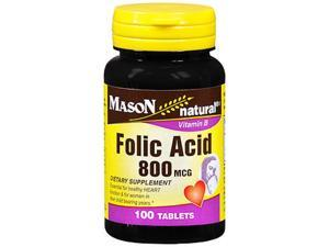 Mason Natural Folic Acid 800 mcg - 100 Tablets