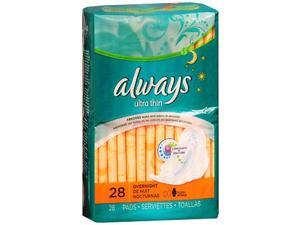 Always Ultra Thin Overnight Pads with Flexi-Wings - 6 packs of 28