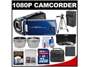 Bell & Howell DV12HDZ 1080p HD Video Camera Camcorder (Blue) with 32GB Card + Battery & Charger + Case + Tripod + 3 Filters + Tele/Wide Lens Kit
