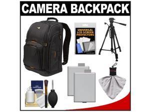 Case Logic Digital SLR Camera Backpack Case (Black) (SLRC-206) with (2) LP-E5 Batteries + Tripod + Accessory Kit