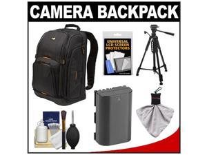 Case Logic Digital SLR Camera Backpack Case (Black) (SLRC-206) with LP-E6 Battery + Tripod + Accessory Kit