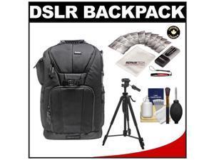 "Vivitar Series One Digital SLR Camera/Laptop Sling Backpack - Medium (Black) Holds Most 15.4'"" Laptops with 58"" Tripod + Camera & Laptop Cleaning Kits"