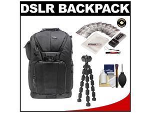 "Vivitar Series One Digital SLR Camera/Laptop Sling Backpack - Medium (Black) Holds Most 15.4'"" Laptops with 10"" Spider Tripod + Camera & Laptop Cleaning Kits"
