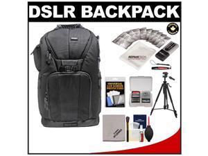 "Vivitar Series One Digital SLR Camera/Laptop Sling Backpack - Large (Black) Holds Most 17'"" Laptops with 58"" Tripod + Camera & Laptop Cleaning Kits"