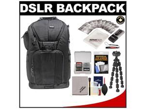 "Vivitar Series One Digital SLR Camera/Laptop Sling Backpack - Large (Black) Holds Most 17'"" Laptops with 10"" Spider Tripod + Camera & Laptop Cleaning Kits"