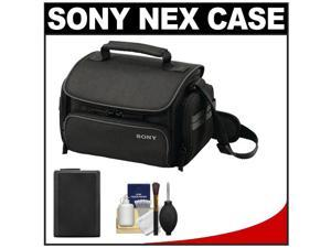 Sony LCS-U20 Medium Carrying Case for Handycam, Cyber-Shot, NEX Digital Camera (Black) with NP-FW50 Battery + Cleaning Kit