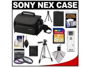Sony LCS-U20 Medium Carrying Case for Handycam, Cyber-Shot, NEX Digital Camera (Black) with 16GB Card + NP-FW50 Battery + 3 UV/FLD/PL Filters + Tripod + Accessory Kit