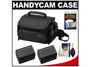 Sony LCS-U20 Medium Carrying Case for Handycam, Cyber-Shot, NEX Digital Camera (Black) with 2 NP-FV70 Batteries + Accessory Kit