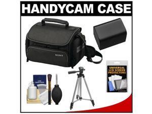 Sony LCS-U20 Medium Carrying Case for Handycam, Cyber-Shot, NEX Digital Camera (Black) with NP-FV70 Battery + Tripod + Accessory Kit