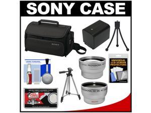 Sony LCS-U20 Medium Carrying Case for Handycam, Cyber-Shot, NEX Digital Camera (Black) with Wide & Telephoto Lens + Battery + Tripod + Accessory Kit