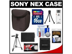 Sony LCS-BBF Soft Digital Camera Case for NEX Digital Cameras (Black) with NP-FW50 Battery + 16GB SD Card + Tripod + Accessory Kit