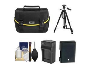 Nikon Starter Digital SLR Camera Case - Gadget Bag with EN-EL14 Battery + Charger + Tripod + Kit for D3100, D3200, D3300, D5100, D5200, D5300