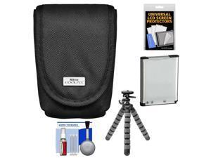Nikon Coolpix 5879 Digital Camera Case with EN-EL19 Battery + Flex Tripod + Kit for S32, S3500, S4300, S5200, S5300, S6500, S6800