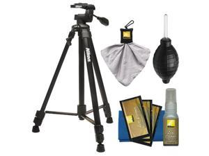 """Nikon 60"""" Full Size Tripod with 3-Way Panhead (Black) with Nikon Camera and Lens Cleaning Kit"""
