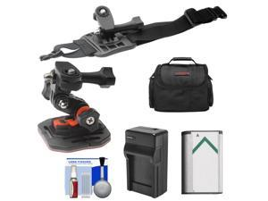 Essentials Bundle for Sony Action Cam HDR-AS30V, AS20, AS15 & AS100V Camcorders with Curved Helmet & Arm Mounts + Battery + Charger + Case + Accessory Kit
