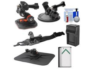Essentials Bundle for Sony Action Cam HDR-AS30V, AS20, AS15 & AS100V Camcorders with Curved Helmet, Arm & Car Mounts + Battery + Charger + Accessory Kit