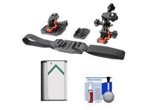 Essentials Bundle for Sony Action Cam HDR-AS30V, AS20, AS15 & AS100V Camcorders with Helmet & Flat Surface Mounts + Battery + Cleaning Kit