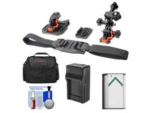 Essentials Bundle for Sony Action Cam HDR-AS30V, AS20, AS15 & AS100V Camcorders with Helmet & Flat Surface Mounts + Battery + Charger + Case + Accessory Kit