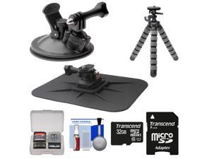 Essentials Bundle for Replay XD 1080 Mini Action Video Camera Camcorder with Car Suction Cup & Dashboard Mounts + 32GB Card + Flex Tripod + Kit
