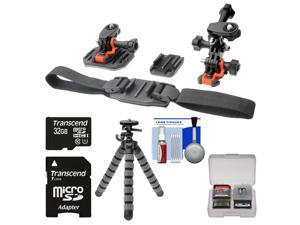 Essentials Bundle for Replay XD 1080 Mini Action Video Camera Camcorder with Flat Surface, Curved & Vented Helmet Mounts + 32GB Card + Flex Tripod + Kit