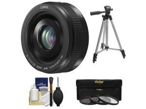 Panasonic Lumix G Vario 20mm f/1.7 II ASPH Lens for G Series Cameras (Black) with 3 UV/ND8/CPL Filters + Tripod + Accessory Kit