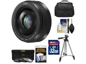 Panasonic Lumix G Vario 20mm f/1.7 II ASPH Lens for G Series Cameras (Black) with 32GB Card + 3 UV/ND8/CPL Filters + Case + Tripod + Accessory Kit