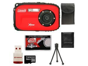 Coleman Xtreme C5WP Shock & Waterproof Digital Camera (Red) with 16GB Card + Case + Accessory Kit