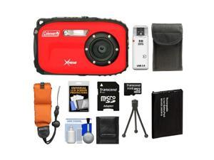 Coleman Xtreme C5WP Shock & Waterproof Digital Camera (Red) with 8GB Card + Battery + Floating Strap + Case + Accessory Kit