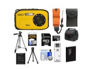 Coleman Xtreme C5WP Shock & Waterproof Digital Camera (Yellow) with 8GB Card + Battery + Floating Strap + (2) Cases + Tripod + Accessory Kit