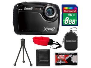 Coleman Xtreme2 C12WP Shock & Waterproof Digital Camera with HD Video (Black) with 8GB Card + Case + Tripod + Accessory Kit