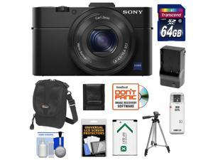 Sony Cyber-Shot DSC-RX100 II Wi-Fi Digital Camera (Black) with 64GB Card + Battery & Charger + Case + Tripod + Accessory Kit