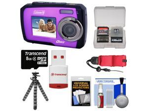 Coleman Duo 2V7WP Dual Screen Shock & Waterproof Digital Camera (Purple) with 16GB Card & Reader + Float Strap + Flex Tripod + Accessory Kit