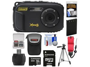 Coleman Xtreme3 C9WP Shock & Waterproof 1080p HD Digital Camera (Black) with 32GB Card + Battery + Case + Float Strap + Tripod + Kit