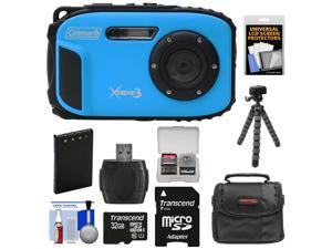 Coleman Xtreme3 C9WP Shock & Waterproof 1080p HD Digital Camera (Blue) with 32GB Card + Battery + Case + Flex Tripod + Float Strap + Kit