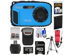 Coleman Xtreme3 C9WP Shock & Waterproof 1080p HD Digital Camera (Blue) with 32GB Card + Battery + Case + Float Strap + Tripod + Kit