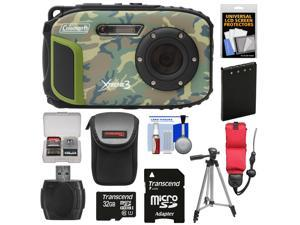 Coleman Xtreme3 C9WP Shock & Waterproof 1080p HD Digital Camera (Camo) with 32GB Card + Battery + Case + Float Strap + Tripod + Kit