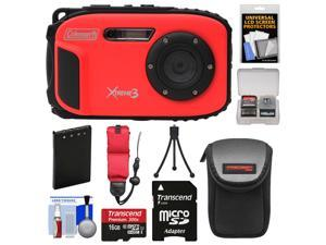 Coleman Xtreme3 C9WP Shock & Waterproof 1080p HD Digital Camera (Red) with 16GB Card + Battery + Case + Tripod + Float Strap + Kit
