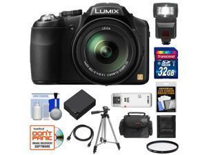 Panasonic Lumix DMC-FZ200 Digital Camera (Black) with 32GB Card + Case + Battery + Flash + Filter + Tripod + Accessory Kit