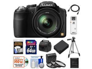 Panasonic Lumix DMC-FZ200 Digital Camera (Black) with 64GB Card + Case + Battery + 3 (UV/CPL/ND8) Filters + Tripod + Accessory Kit