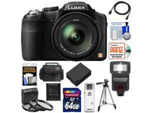 Panasonic Lumix DMC-FZ200 Digital Camera (Black) with 64GB Card + Case + Battery + Flash + 3 Filters + Tripod + HDMI Cable + Accessory Kit