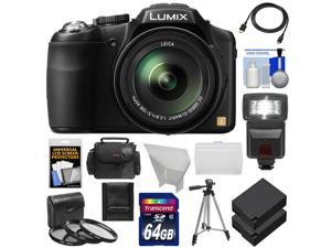Panasonic Lumix DMC-FZ200 Digital Camera (Black) with 64GB Card + Case + Batteries + Flash + Diffuser + 3 Filters + Tripod + Accessory Kit