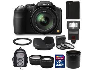 Panasonic Lumix DMC-FZ200 Digital Camera (Black) with 32GB Card + Battery + Backpack + Flash + Lens Set + Hood + 3 Filters Kit