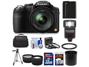 Panasonic Lumix DMC-FZ200 Digital Camera (Black) with 32GB Card + Battery + Case + Flash + Lens Set + Tripod + 3 Filters Kit