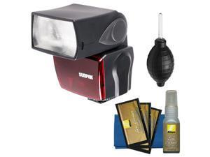 Sunpak PF30X Electronic Flash Unit (for Nikon i-TTL) with Hurricane Blower + Nikon 3-Piece Cleaning Kit