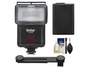 Vivitar SF-4000 Auto Bounce Zoom Slave Flash with Bracket + NP-FW50 Battery + Cleaning Kit for Sony Alpha A3000, A5000, A6000, NEX-5T, 6, 7 Camera