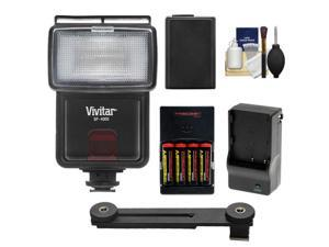 Vivitar SF-4000 Auto Bounce Zoom Slave Flash with Bracket + NP-FW50 Battery + Batteries & Charger Kit for Sony Alpha A3000, A5000, A6000, NEX-5T, 6